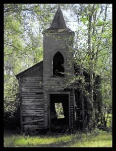 Abandoned, broken down church