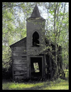 Abandoned, broken down church
