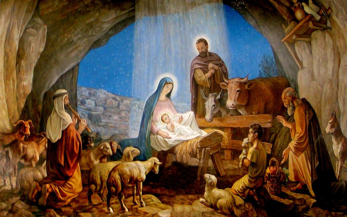 Nativity scene with the newborn Jesus, Joseph, Mary and shepherds in the stable