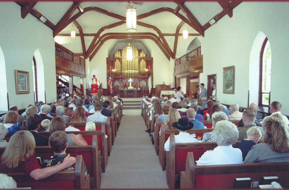 Inside of church during worship service