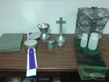 This is the current kit issues to Army chaplains. However, it comes in two smaller pouches, I've combined them into one