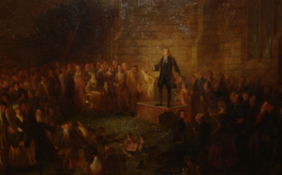Wesley preaching from father's tomb